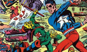 "Image of superhero wearing an eye patch fighting a Japanese ""invader"" circa a 1940s comic book"