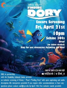 Image of poster for Finding Dory Encore Screening